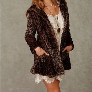 Free People leopard coat Medium